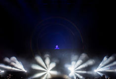 Dj performs a live EDM concert on the stage Stock Images