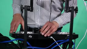 Dj play music Turntable dj party close up stock video footage