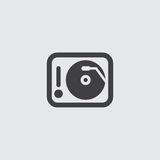 DJ player icon in a flat design in black color. Vector illustration eps10. DJ  player icon in a flat design in black color. Vector illustration eps10 Royalty Free Stock Photography