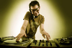 Dj playing Stock Image