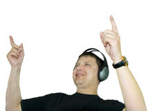 Dj is playing disco music. Disk Jokey is playing disco music isolated over white background Royalty Free Stock Image
