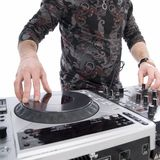 Dj playing on dj mixer with isolated Stock Photo