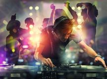 Free DJ Playing Music At The Discotheque. Double Exposure Stock Image - 149477031