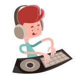 Dj playing music beats  illustration cartoon character Royalty Free Stock Photos