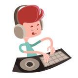 Dj playing music beats illustration cartoon character. Enjoy vector illustration