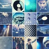 DJ playing music collage Royalty Free Stock Image