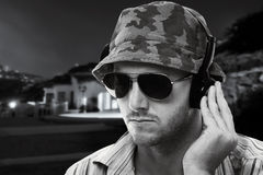 DJ playing outside Stock Image