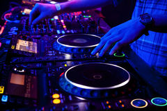 Dj playing the track Royalty Free Stock Images