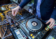 Dj playing the track Stock Images