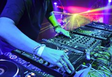 Dj playing the track Royalty Free Stock Image