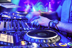 Dj playing the track Royalty Free Stock Photos