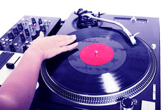 DJ playing vinyl Stock Photo