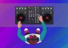 DJ playing vinyl on the neon color light background. Top view. DJ Interface workspace mixer console turntables. Night stock illustration