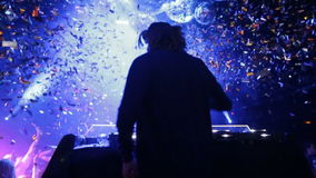 DJ plays at a party at the club stock video footage