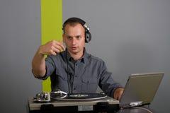DJ plays set Royalty Free Stock Image