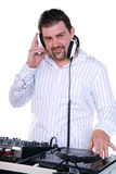 DJ portrait on white. Royalty Free Stock Photography