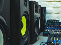 Dj professional audio speakers in the studio stock image