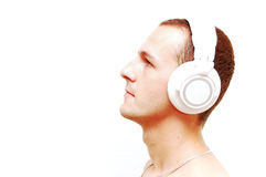Dj profile. Portrait from the side of a young DJ with funky headphones Stock Image