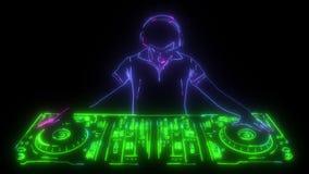 DJ que juega la animación digital de la consola almacen de metraje de vídeo