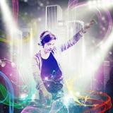 DJ que mistura a música ilustração stock