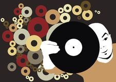 DJ with record. Place your design here(great for your art work,made from my imag Stock Images