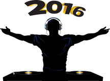 DJ and record decks party 2016. DJ Silhouette with Headphones Record Decks and 2016 in Bold Numbers Background royalty free illustration