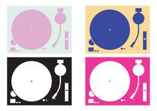 Dj record-player silhouettes Royalty Free Stock Photo