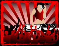 Dj in red. Illustration of a dj and party people Royalty Free Stock Photo