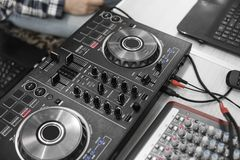 DJ remote control. Dj audio controller. Electronic turntable. stock images