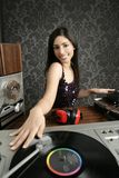 Dj retro woman vintage vinyl turntable music Stock Images