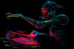 DJ Robot. By The Turntable Stock Photo