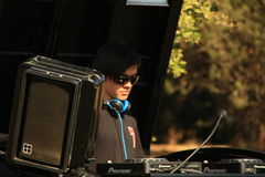 DJ in Rugby 7 football field Stock Image