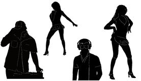 DJ's and dancer's figures. Black DJ's and dancer's figures on white background Stock Images