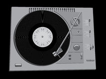 DJ's deck. The image of a vinyl DJ's deck grey colour on black background Stock Photo