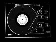DJ's deck. Vector image of a vinyl DJ's deck  on black background Stock Photography