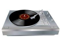 DJ's deck. Vector image of a vinyl DJ's deck grey colour on white background Stock Photos