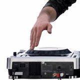 Dj's hand playing on mixer Royalty Free Stock Photography