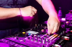 DJ's hands. Dj's hand and control panel Royalty Free Stock Photo