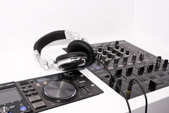 DJ's mixer and headphones Stock Photo