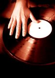 DJ's scratch. Vinyl record Royalty Free Stock Images