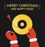 DJ Santa Claus. Figure with hands of Santa Claus and a plate of music Stock Photos