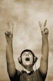 DJ scream stock photo