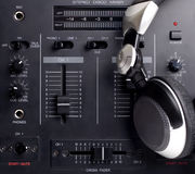 DJ Set. DJ's mixer and headphones stock images