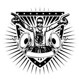 Dj shield. Disc jockey vector illustraation on shield Royalty Free Stock Image