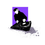 DJ silhouette. Artistic vector illustration stock illustration