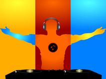 DJ coloured silhouette and record decks Royalty Free Stock Photo
