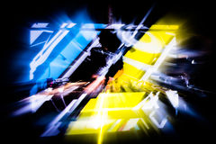 DJ Silhouette Blur. Silhouette of DJ playing, blurred colors Stock Photography