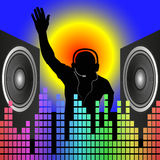 DJ. Silhouette and speakers - vector illustration Royalty Free Stock Images