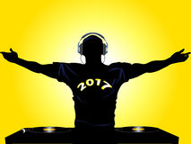DJ silhouette with 2017 t-shirt Royalty Free Stock Photos