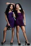 Dj and singer. Beautiful women – dj and singer Royalty Free Stock Image